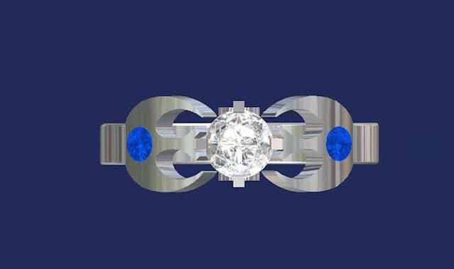 Anillo Valeria Fine Jewelry Rebel Alliance en plata de ley con zafiros y diamantes