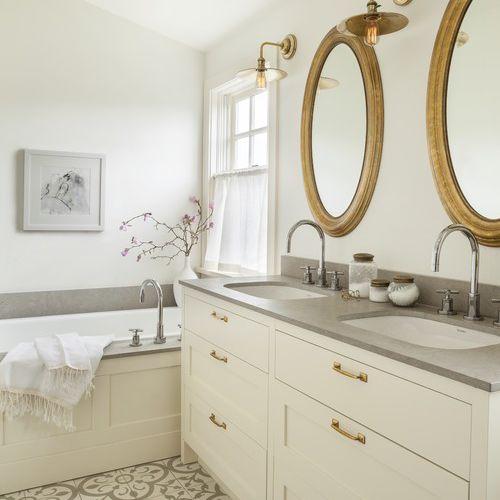 Concrete mosaic tile in a luxury bathroom