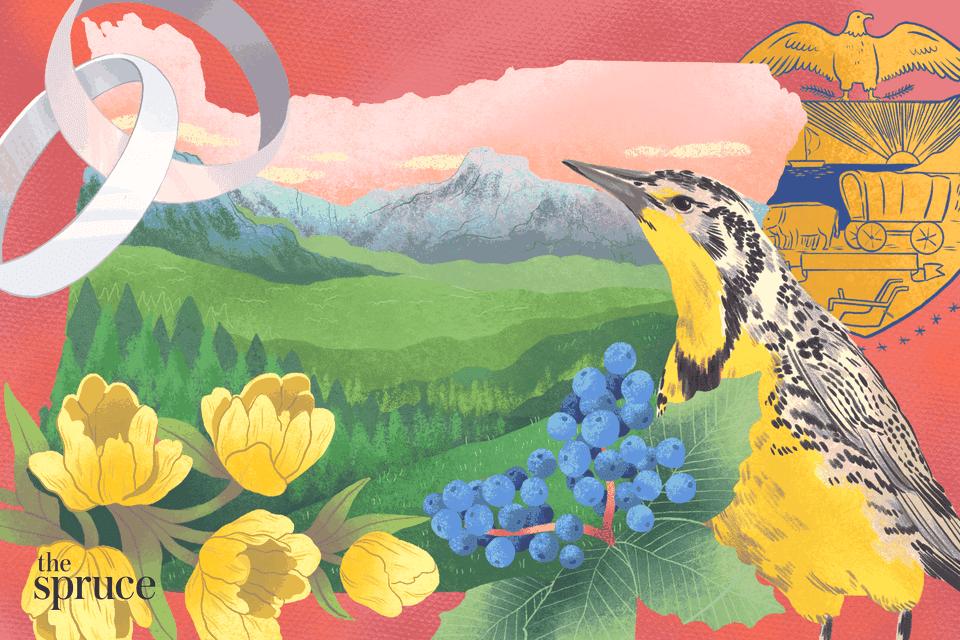 Illustration depicting wedding bands and Oregon state flowers and symbols