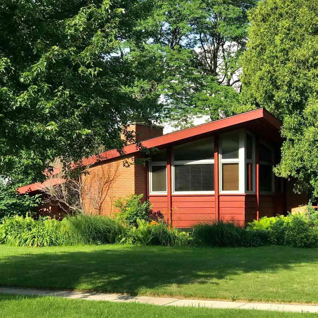 Orange mid century house