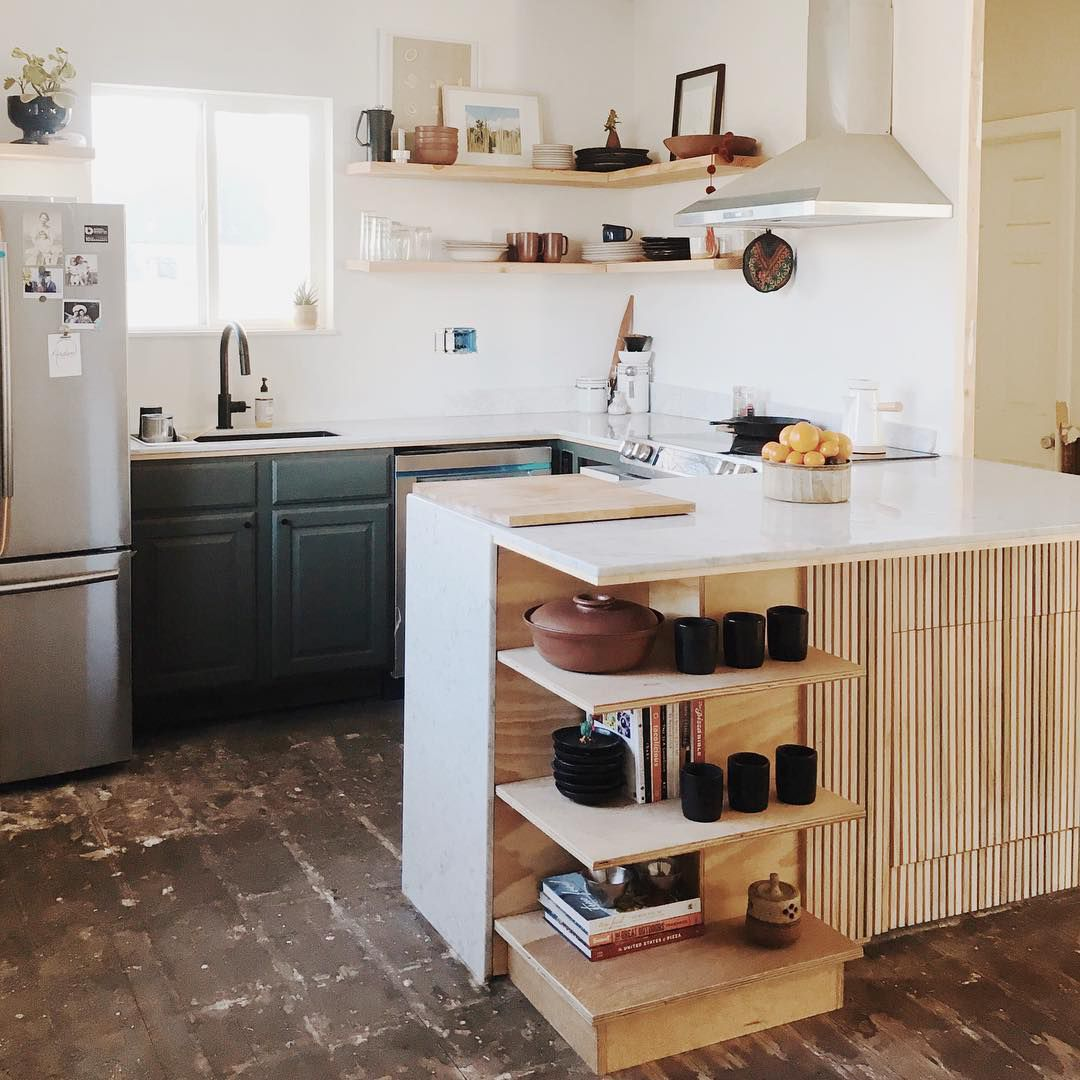 Wooden and green kitchen