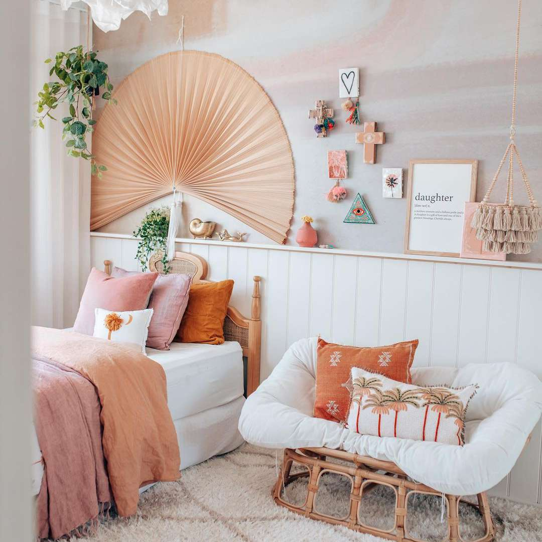 boho accents aesthetic room