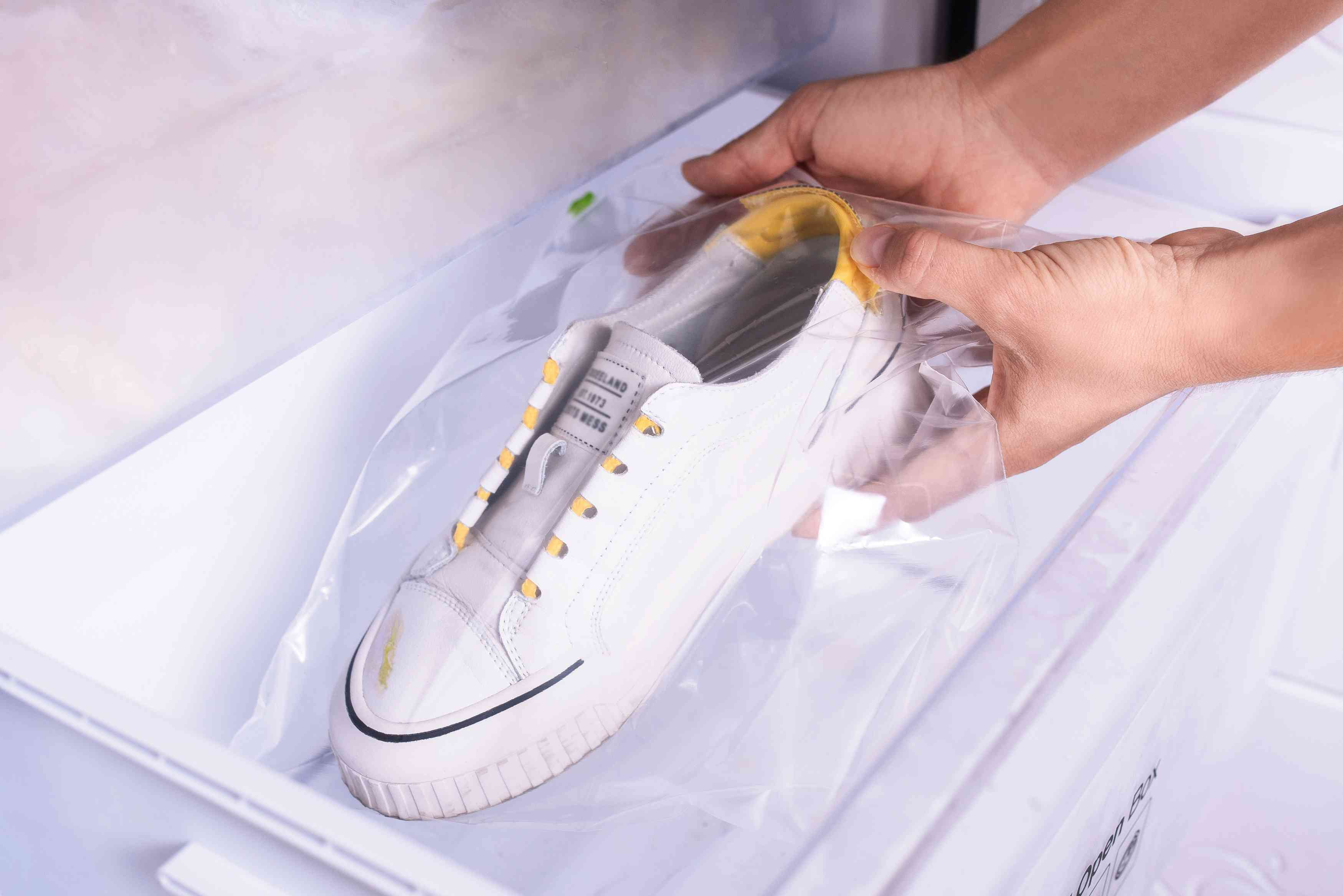 freezing a sap stain on a shoe