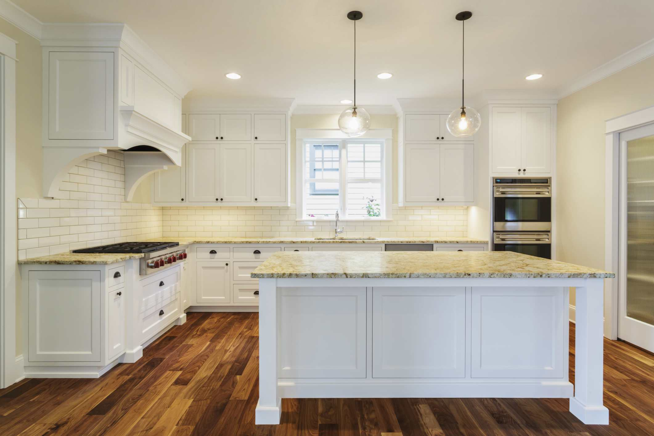 Luxury Dark Wood Floors White Cabinets