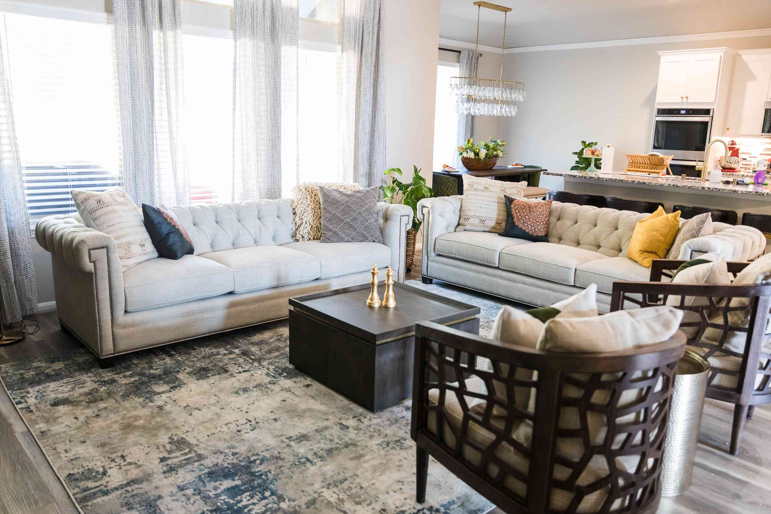 living room with tuffed couches