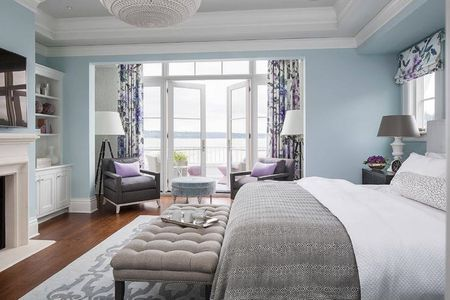 Blue And Gray Bedroom With Lavender Accents