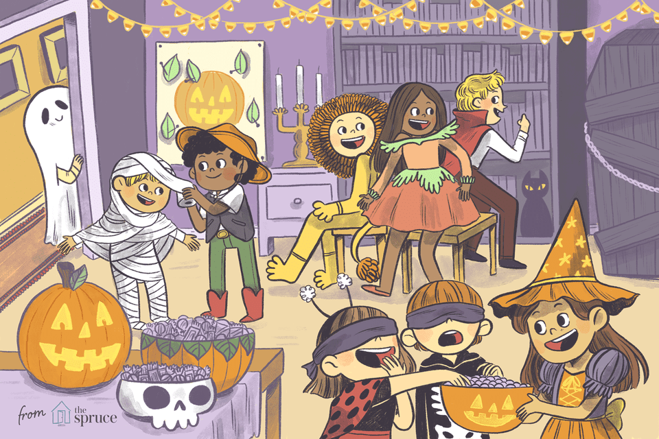 illustration of halloween party games for kids