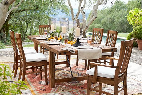 outdoor table with place settings