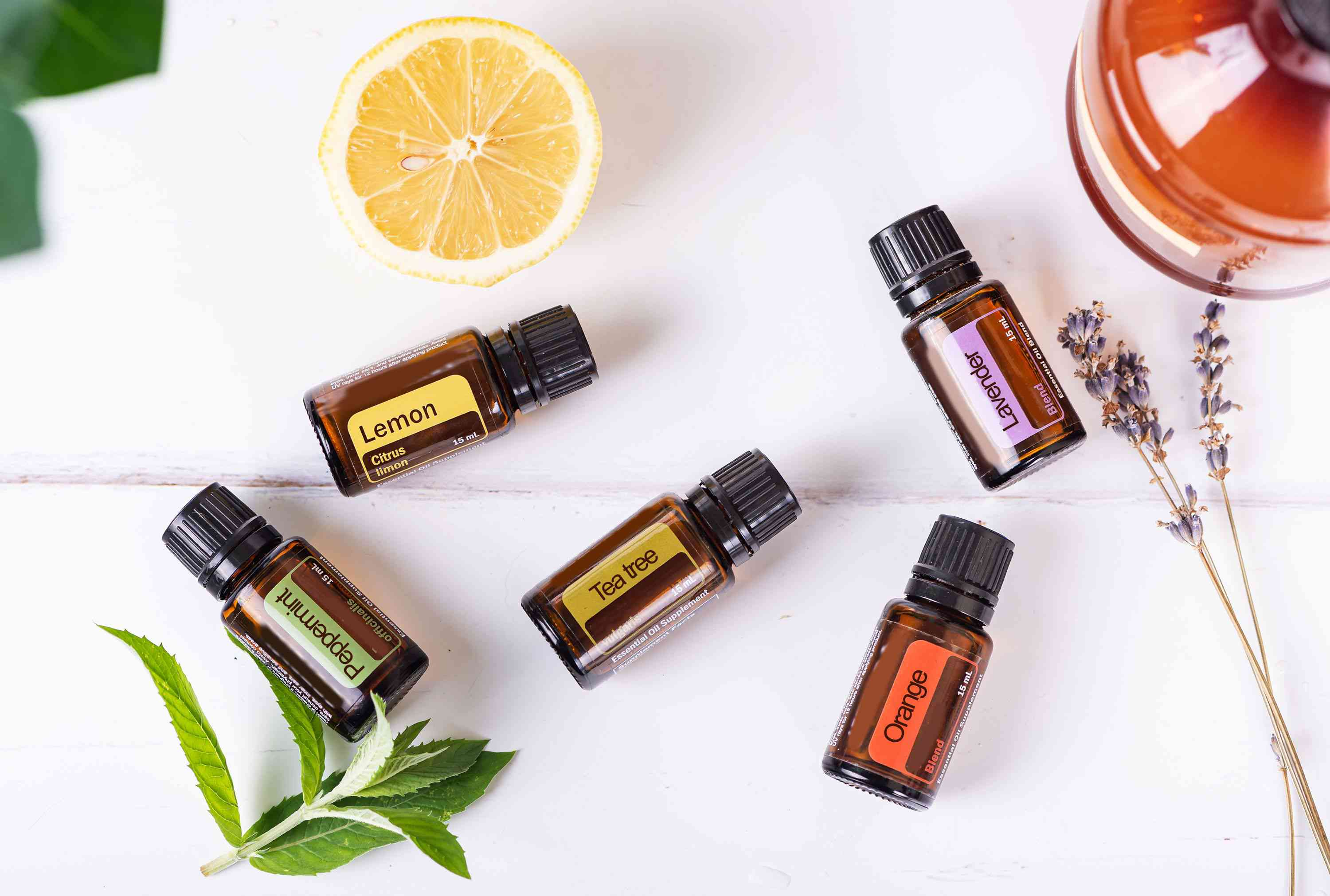 assortment of essential oils from overhead