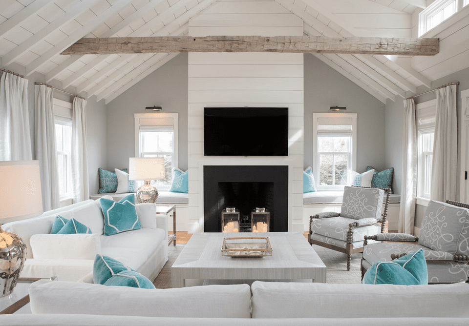 Gray beach house living room