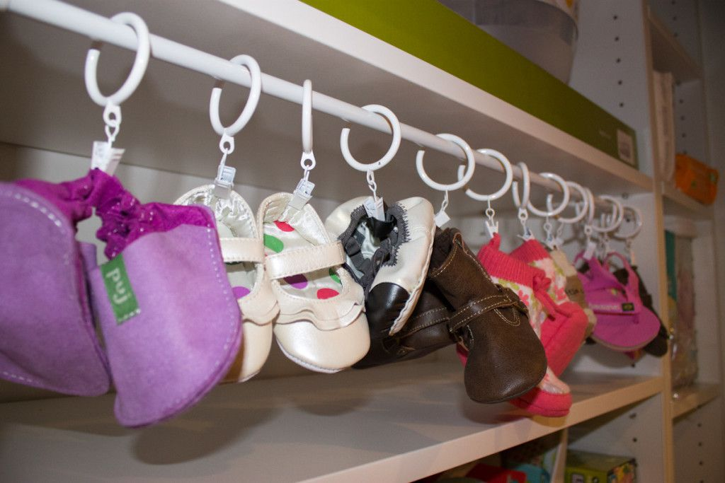 Baby Clothes Organization Hack: Hanging shoe rail