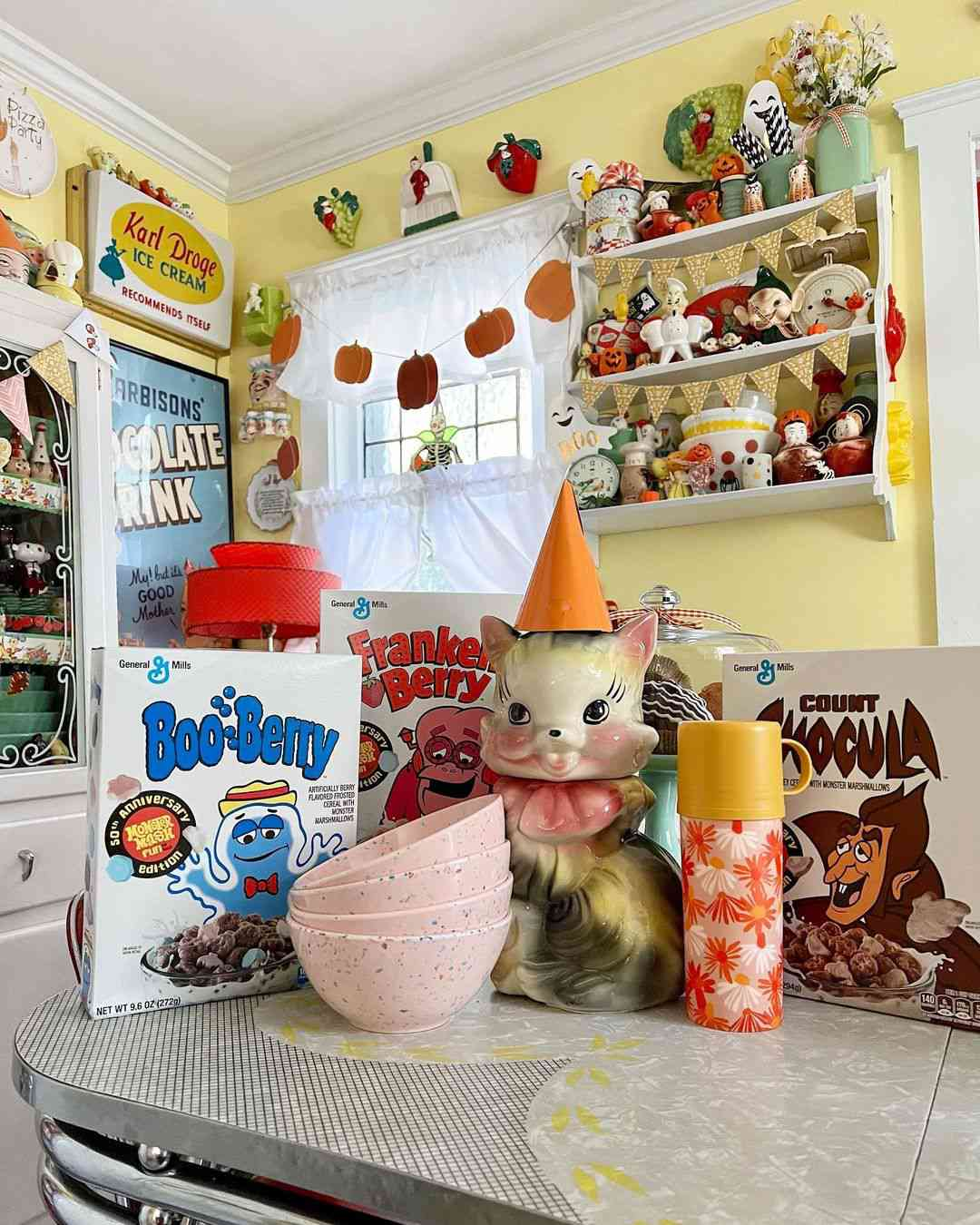 Retro decor with cereal boxes.