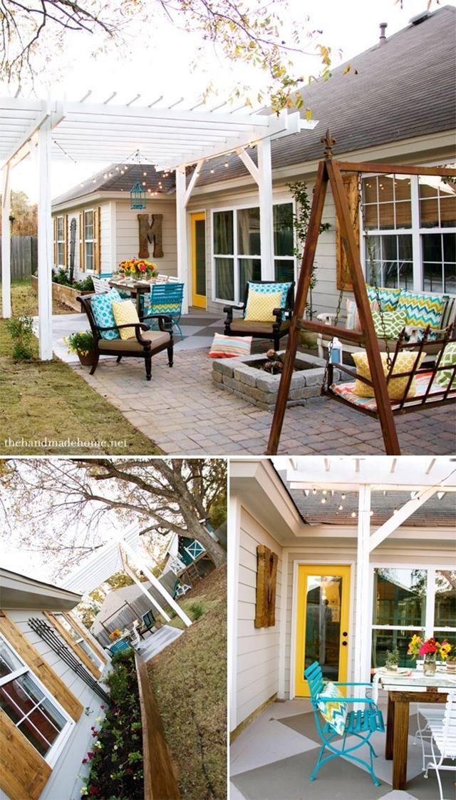Three photos of a backyard pergola