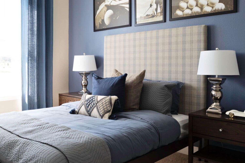 Blue and brown teen bedroom