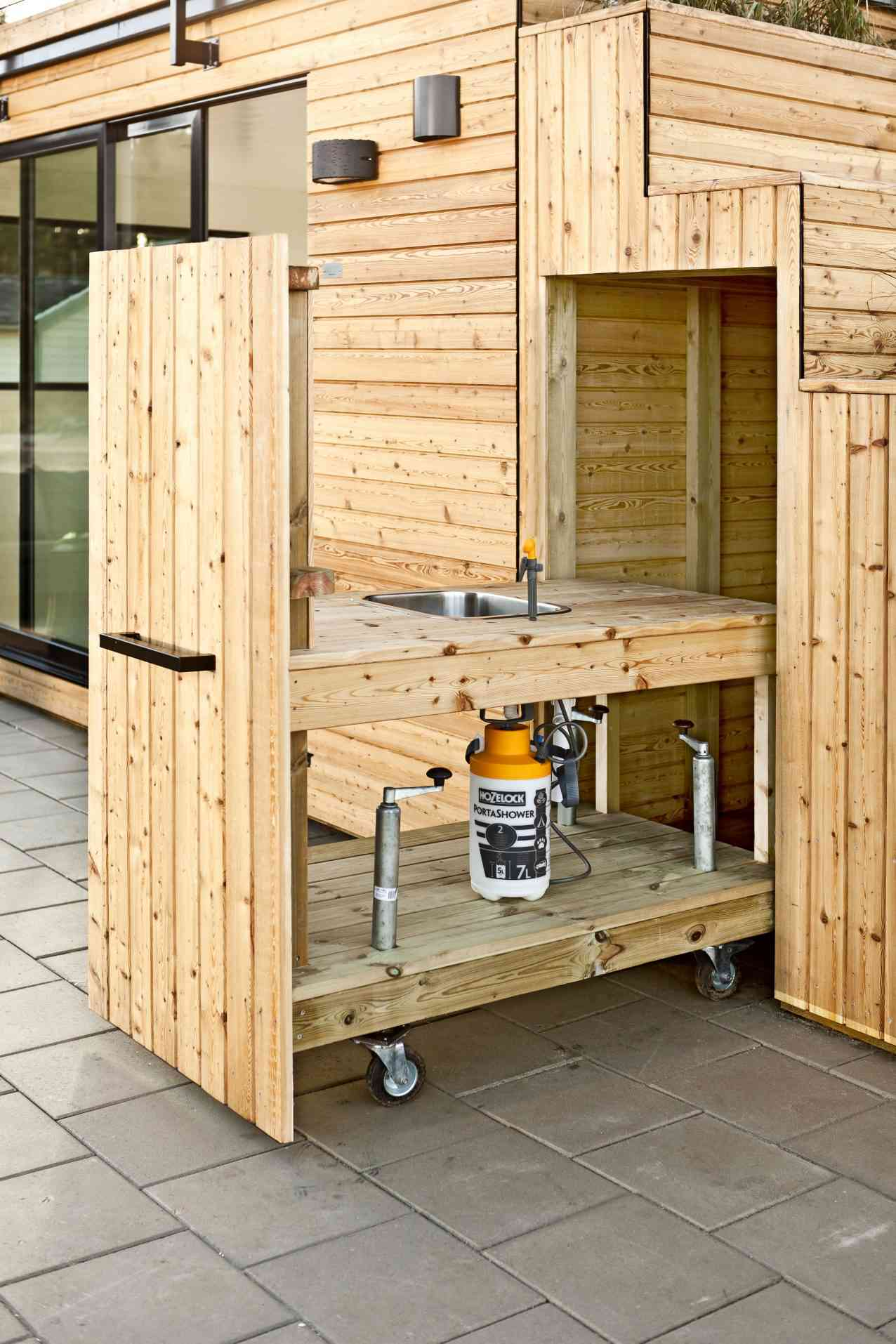 Outdoor kitchen made of wood