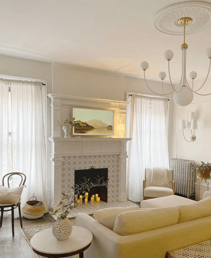 mantel with stick on tiles