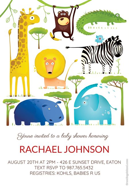 Safari Baby Shower Invitation Printable