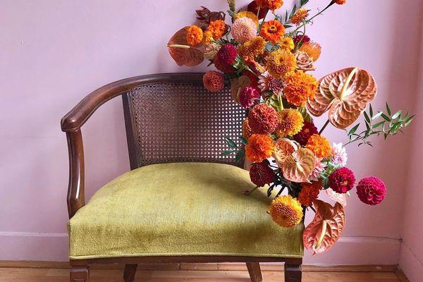 Flower arrangement on a chair