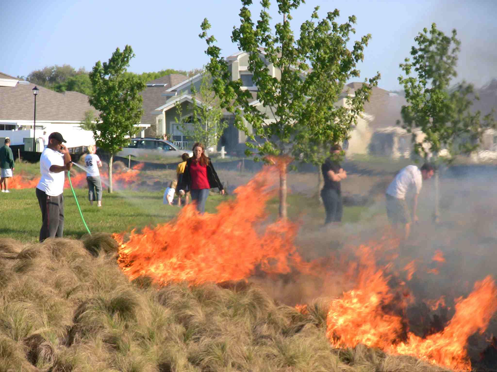 brush fire in neighborhood