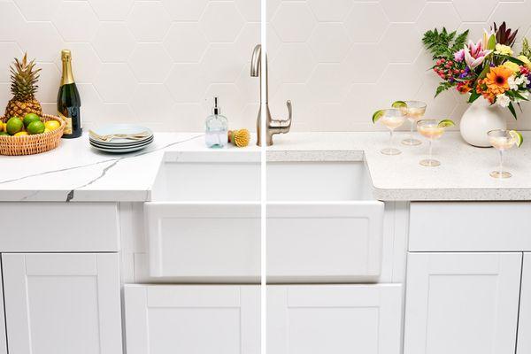 Quartz and laminate kitchen countertop