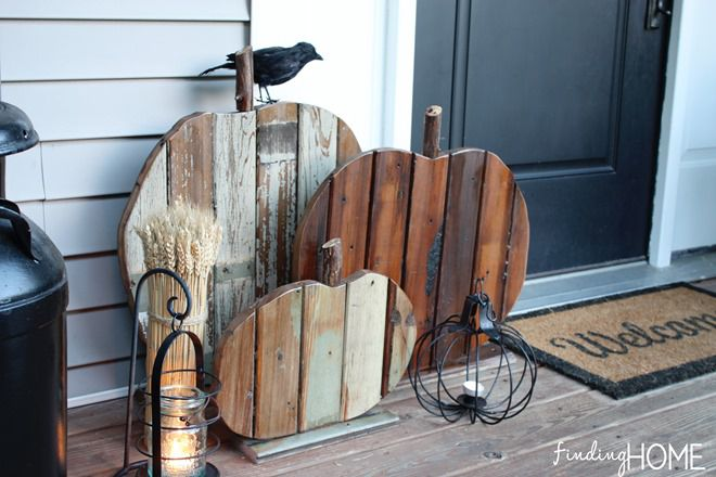 proyecto de bricolaje de calabazas de madera reciclada