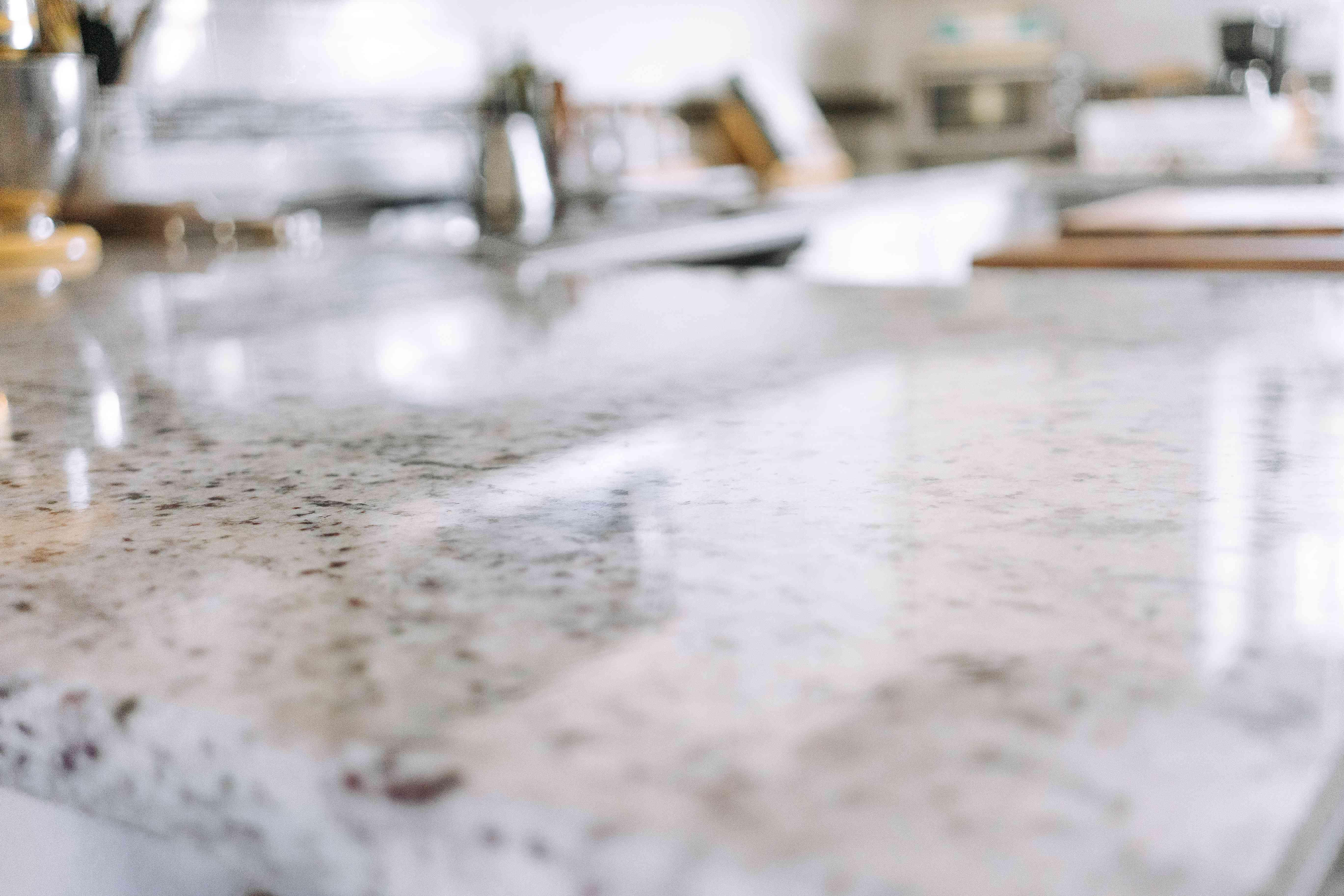 shine on a granite countertop