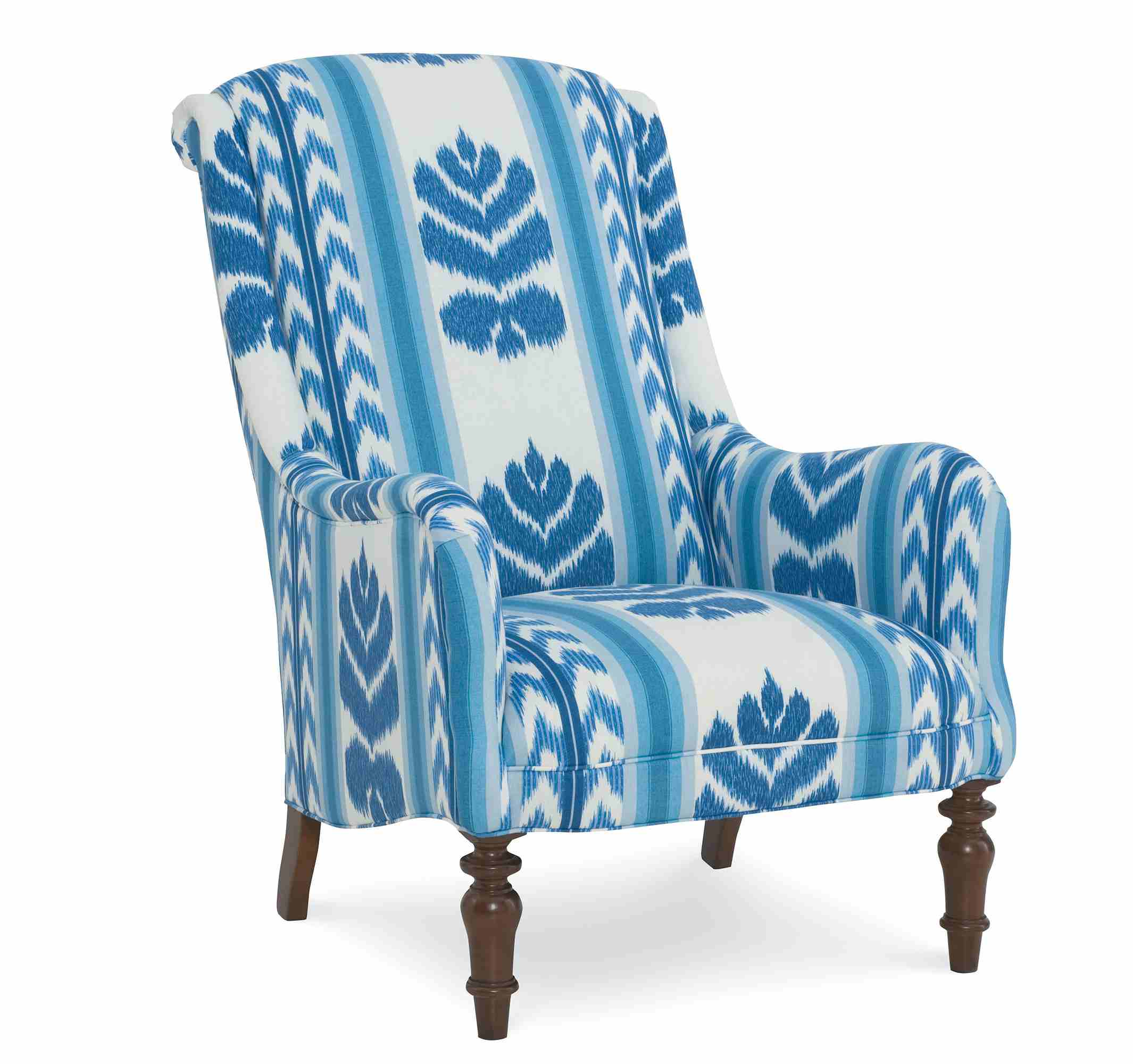 A blue and white Easton chair.