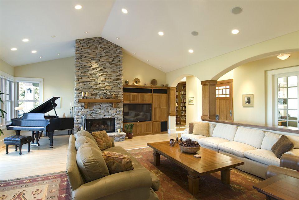 living room home staging lighting