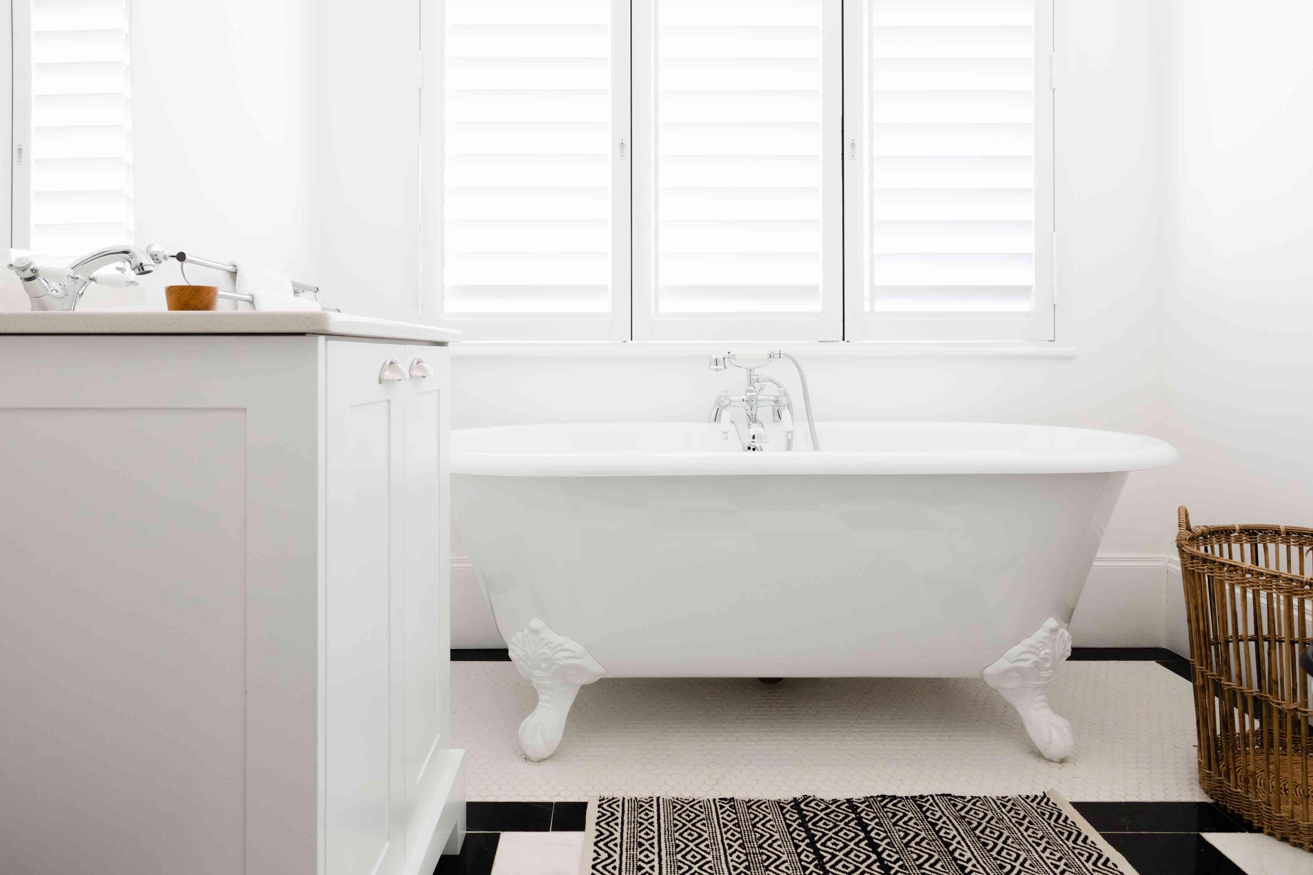 mostly white bathroom