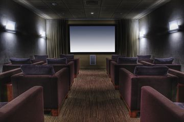 Home Theater Room With Sconces
