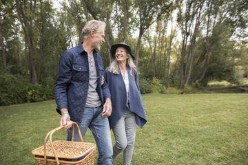 Senior couple going on a picnic