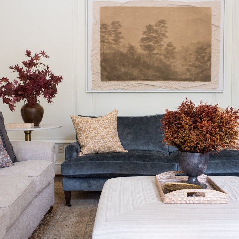 large nature art piece in living room