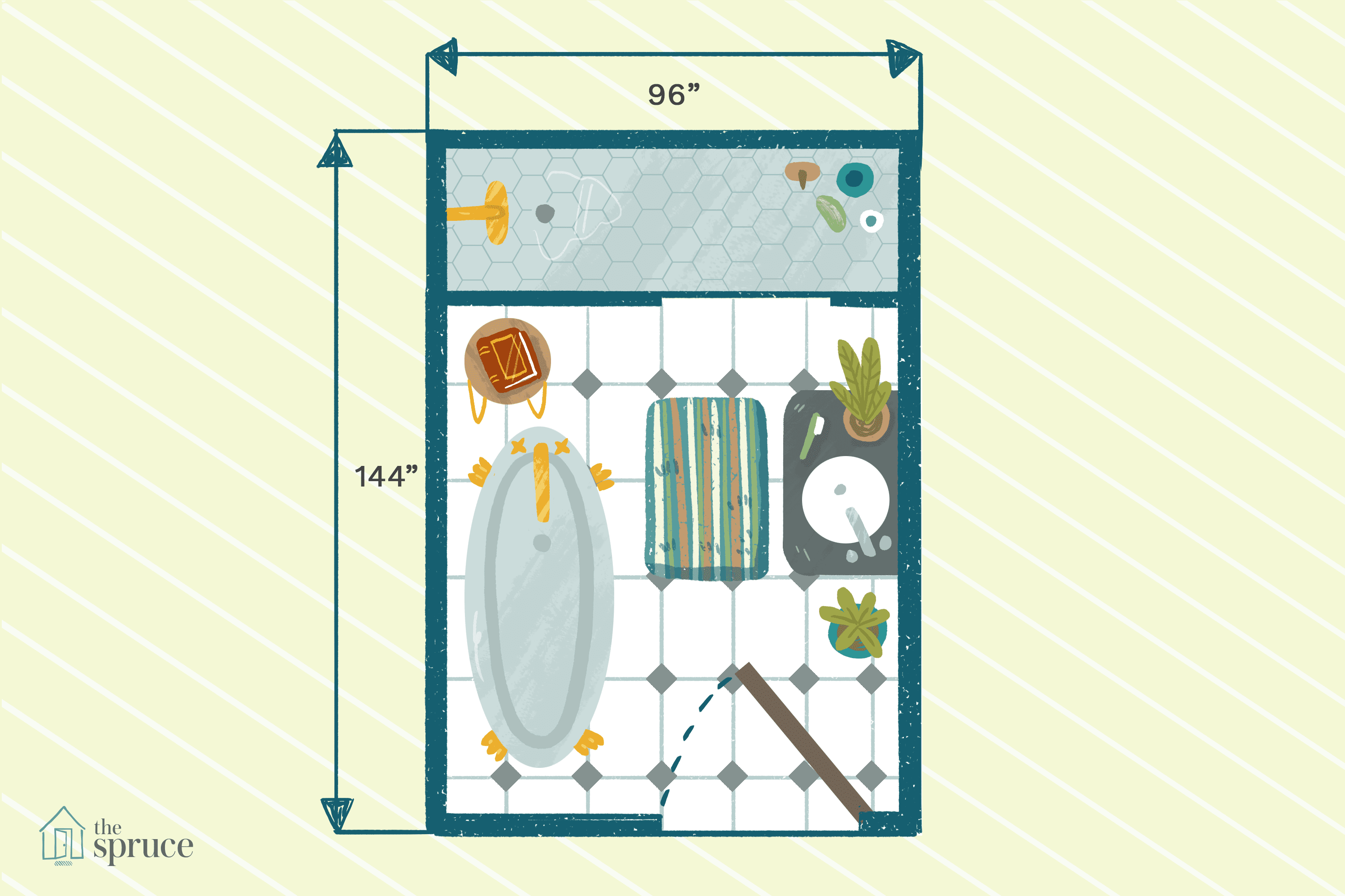 """Illustration of bathroom floor plan with shower and tub measuring 96""""x144""""."""