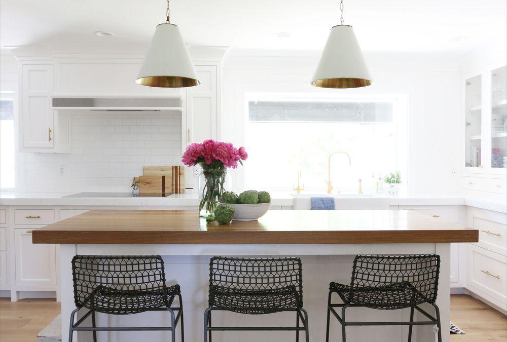 quartz and butcher block kitchen island