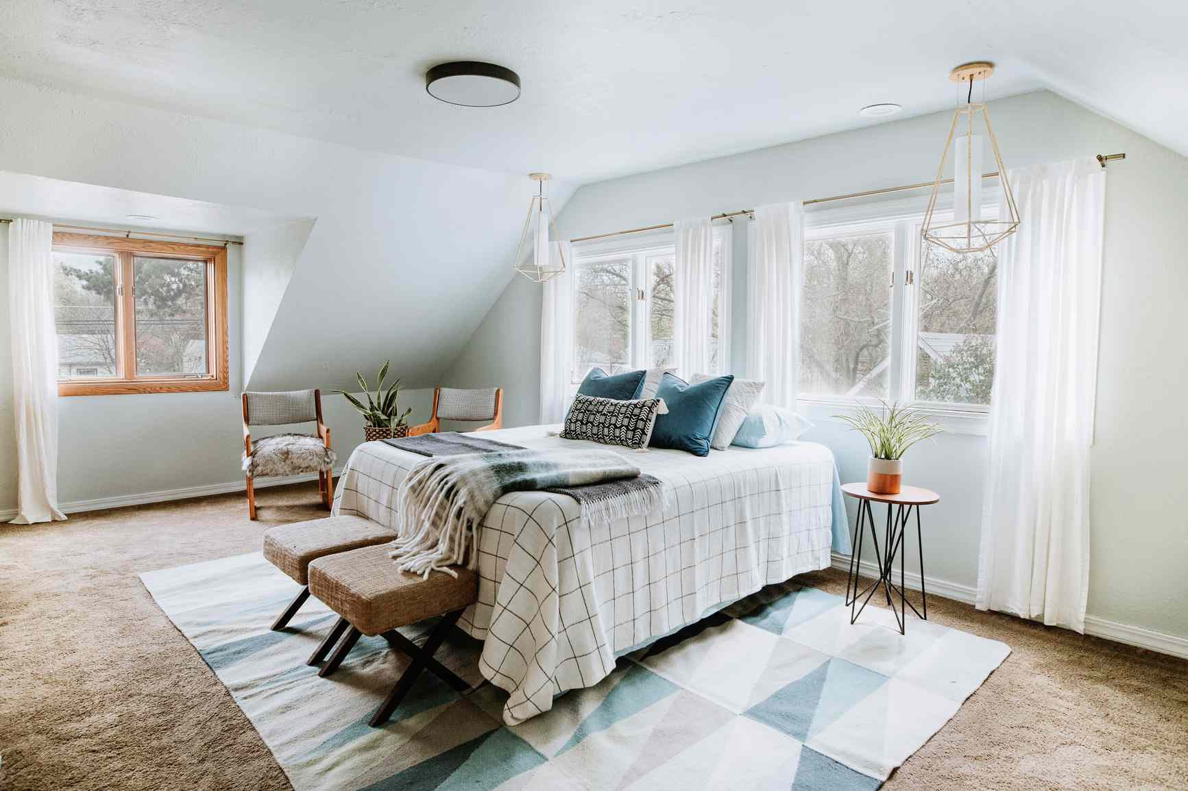 blue accents in a bedroom