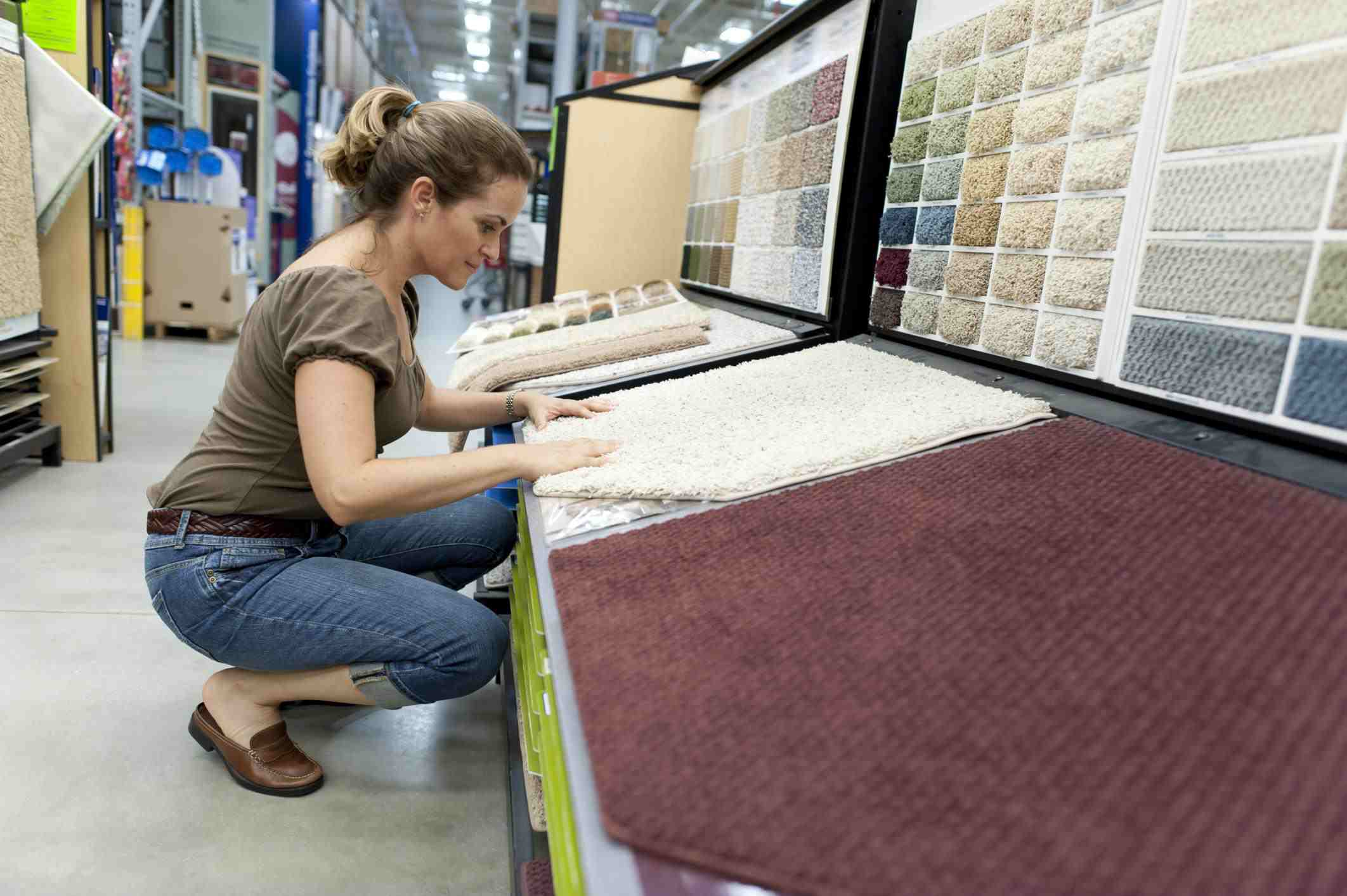 Woman shopping for new carpet