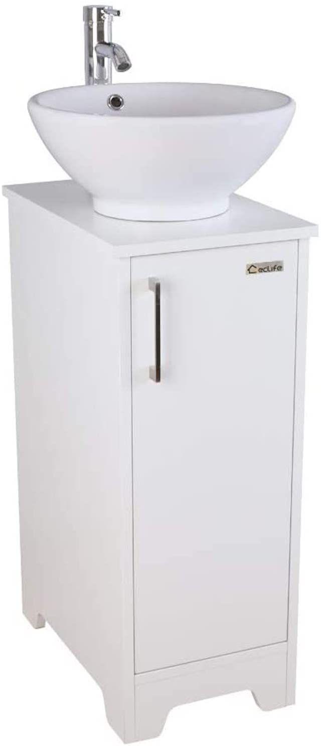 U-Eway 13 inch White Bathroom Vanity and Sink Combo