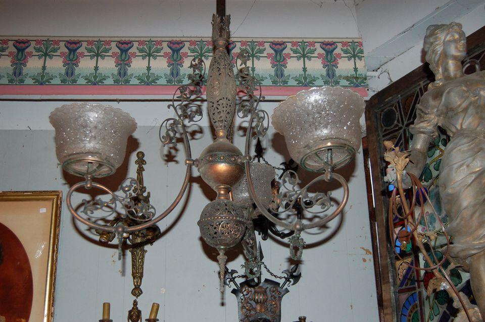 A gas chandelier