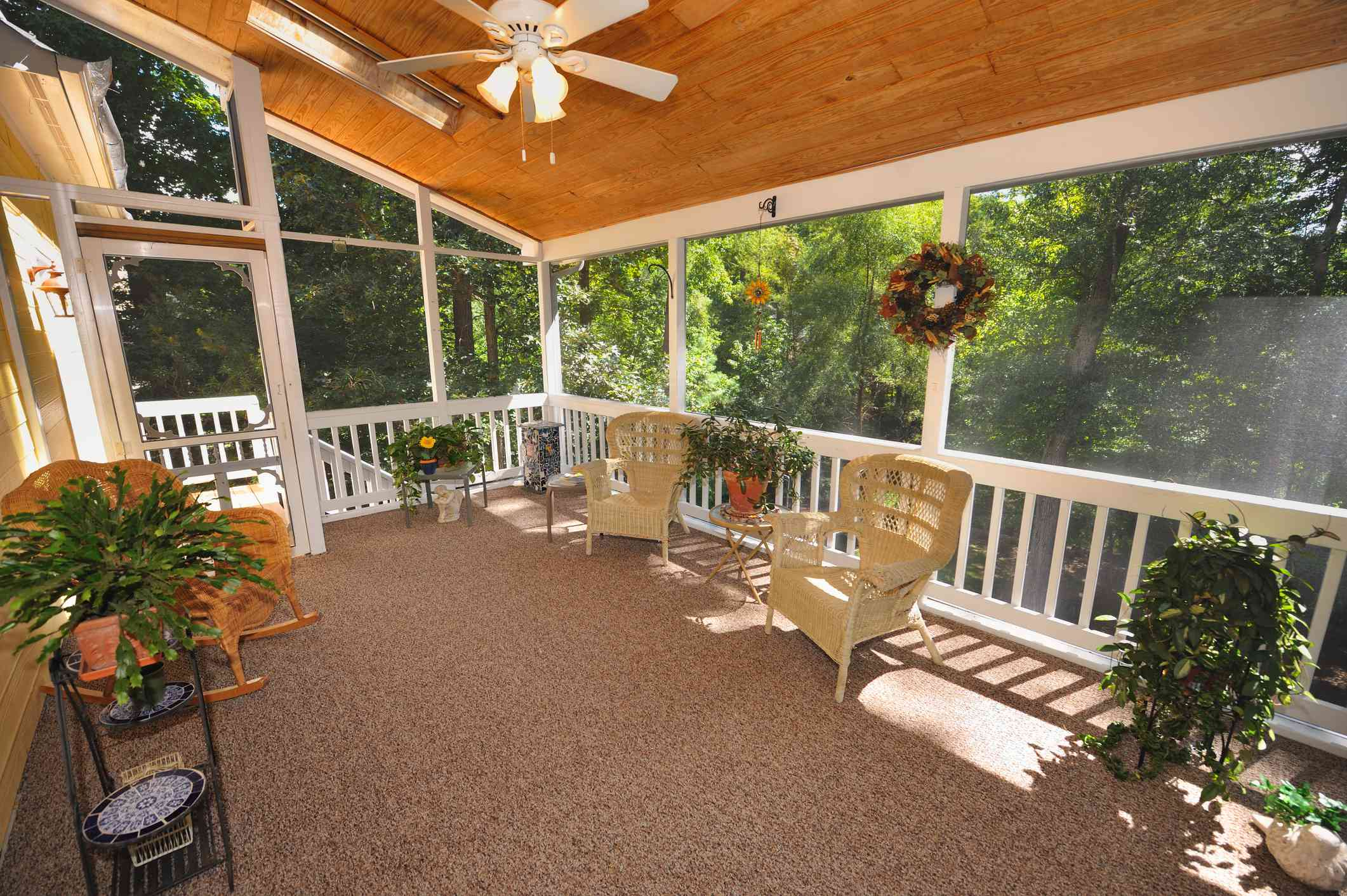 A screened in front porch