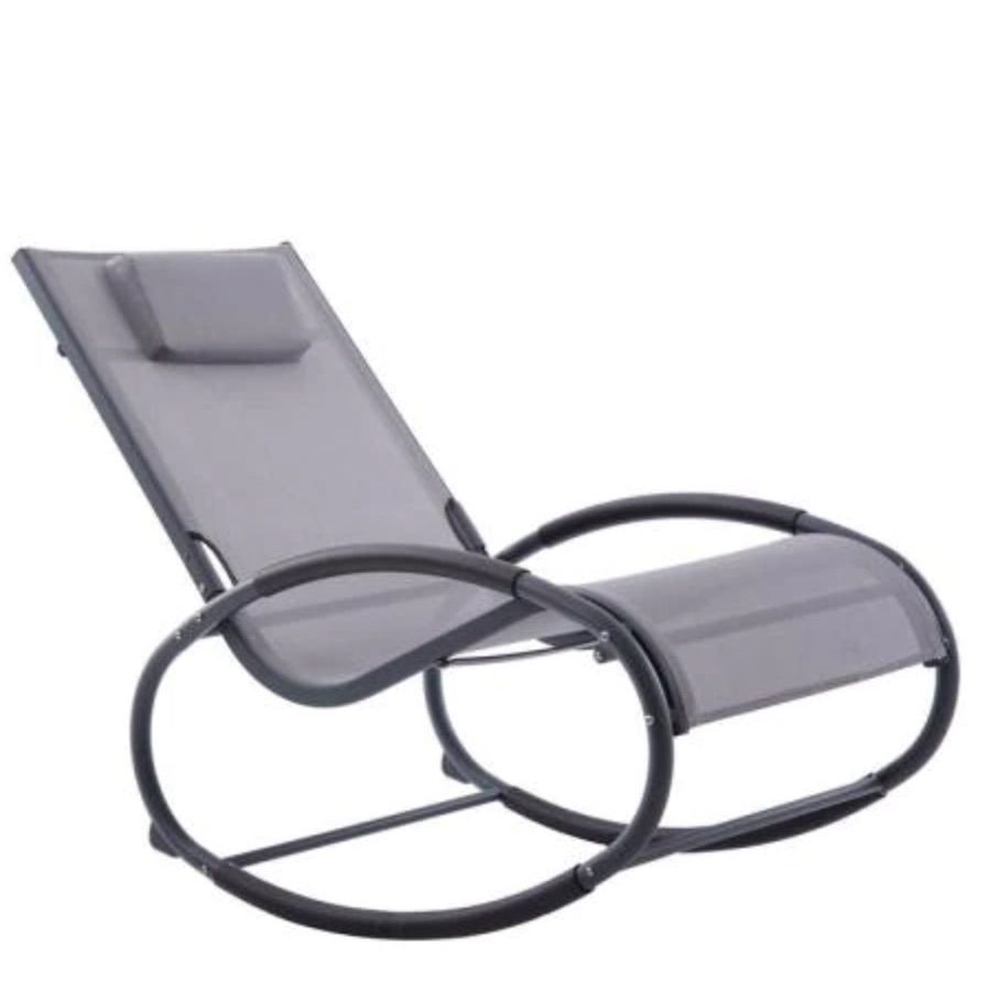 Wave Matte Black and Grey Aluminum Outdoor Rocking Chair