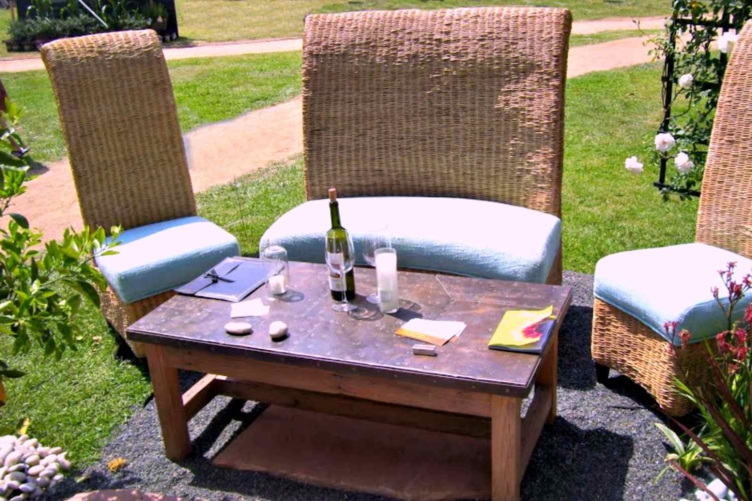 Wicker Side Table Home Outdoor Patio Pool Porch Backyard Deck White Furniture