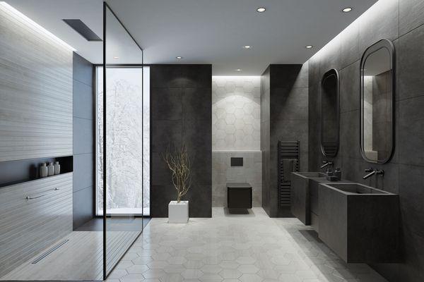 Modern bathroom with dark gray concrete tiles