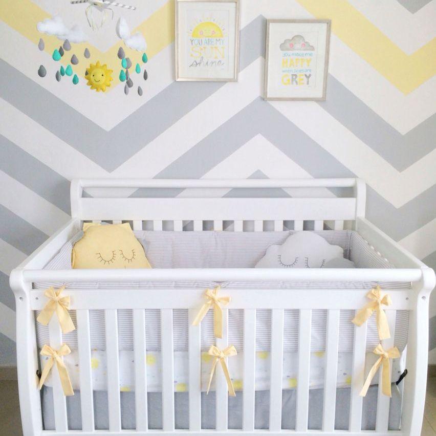 "Gray and Yellow ""You are my sunshine"" nursery"