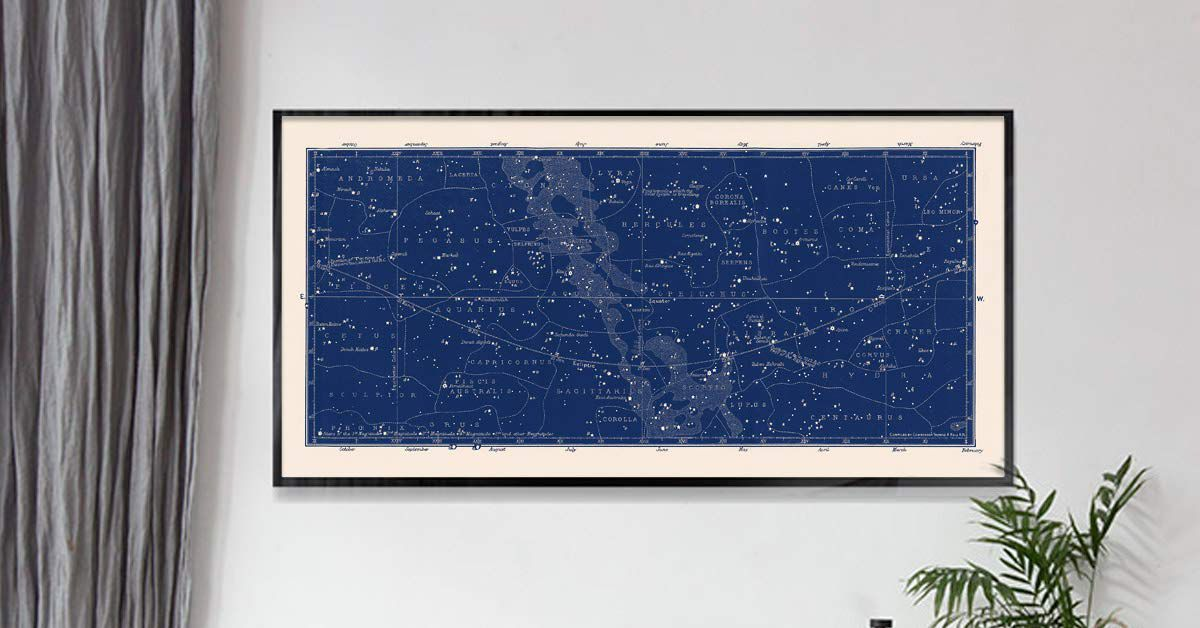 Capricorn Press Blue Constellations Map and Star Chart