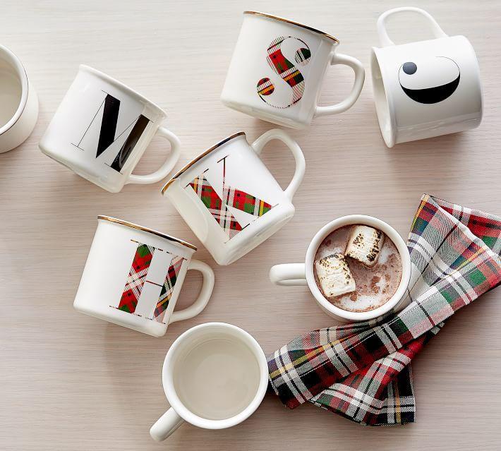 Monogrammed plaid mugs