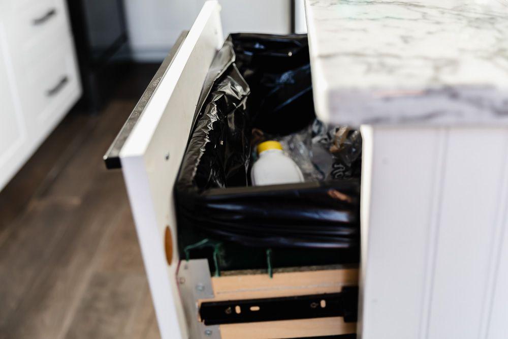 trashcan in a kitchen