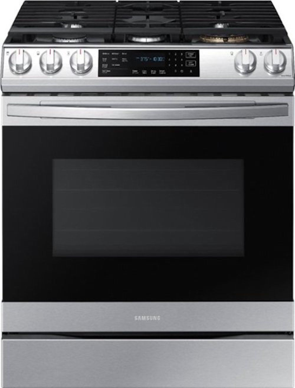 The Samsung NX60T8511SS 30 in. 6.0 cu. ft. Slide-In Gas Range has a built-in air fryer and can connect to the Internet.