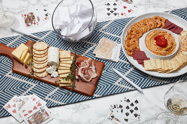 conversation cards, playing cards, and party snacks
