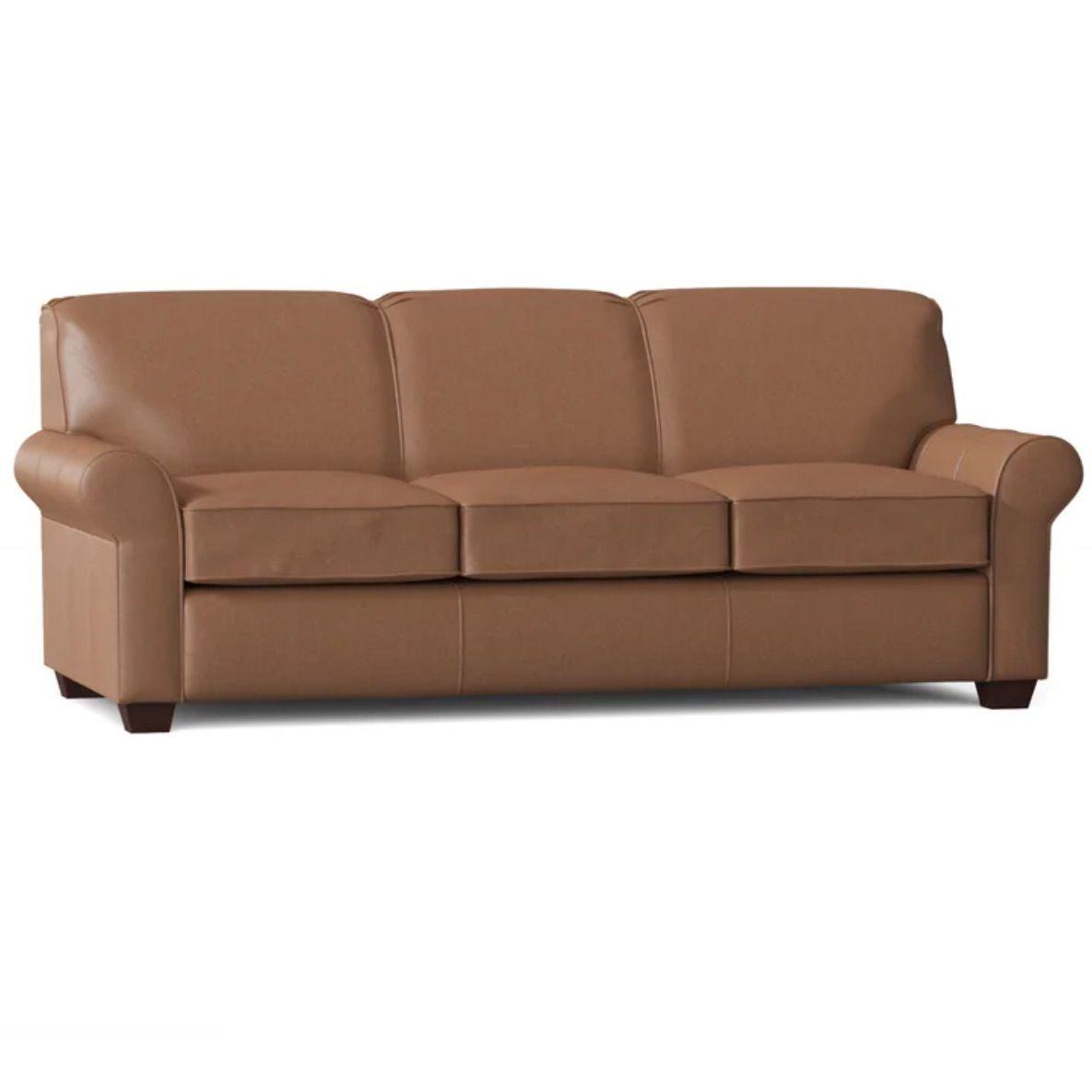"Jennifer Genuine Leather 81"" Rolled Arm Sofa Bed"