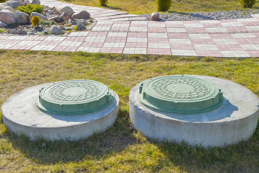 manhole covers above a septic tank